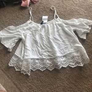 brand new white H&m off shoulder top